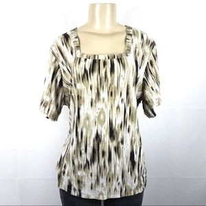JM COLLECTION Floral Embroidered Blouse Plus 1X